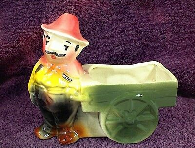 VINTAGE POTTERY MAN and CART PLANTER MAY BE AMERICAN BISQUE ITALIAN MAN