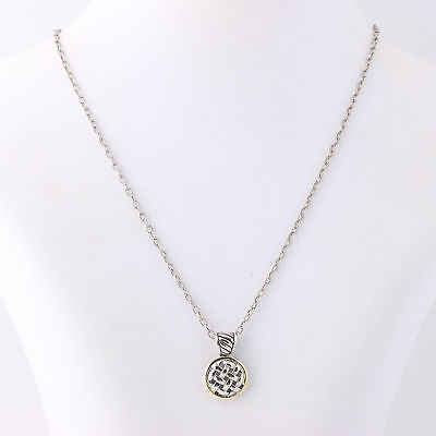 """NEW Woven Design Pendant Necklace 18"""" - Sterling Silver & 18k Yellow Gold"""