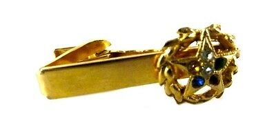 Masonic Eastern Star Bar Tie Clip Clasp Gold Plated Colorful Rhinestone Vintage