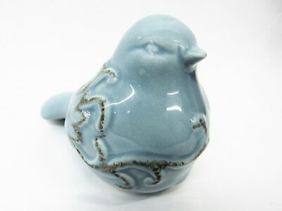 Adorable Vintage-Look Cottage Small Ceramic Blue Bird w/Flowers Spring Figurine