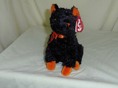 Fraidy 2001 TY Beanie Babie 7in Halloween black and orange Cat orange bow 4379