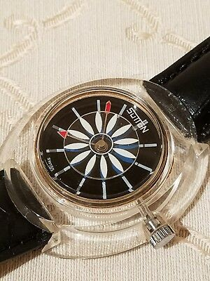 Vintage SWISS SUTTON Acrylic SEE THRU MANUAL Watch ROTATING FLOWER DIAL