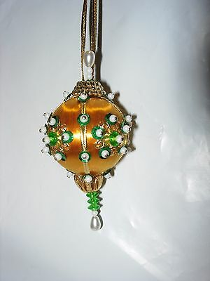 Christmas Tree Ornament Holiday Vintage Sequin Pearls Green Gold Handmade White