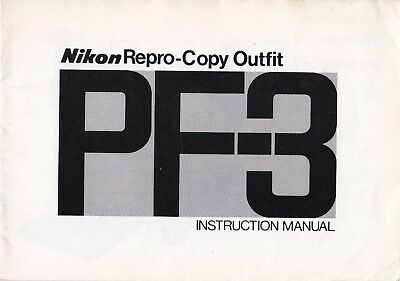 100% Genuine Original Nikon Manual Pf-3 Repro Copy Outfit 76.12.a