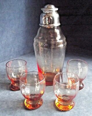 SUPERB ~ HUKIN & HEATH ~ SILVER Plate & AMBER Glass ~ COCKTAIL SHAKER SET c1930
