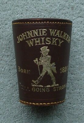 Vintage Johnnie Walker Whisky  Leather Dice Shaker Plus Cased Poker Dice