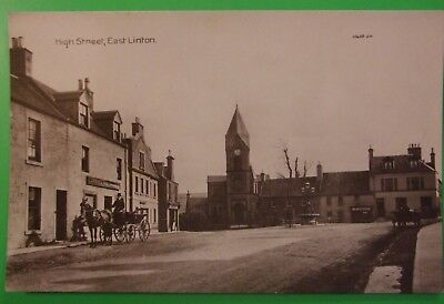 C.HALLEY RP Postcard c.1905 HIGH STREET EAST LINTON EAST LOTHIAN SCOTLAND