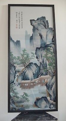 Vintage Chinese Silk Embroidery Panel Mounted And Framed Fully Signed
