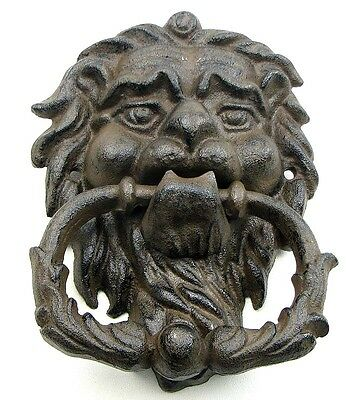Cast Iron Black Brown Lion Head Metal Door Knocker Cabin Lodge Rustic Holiday