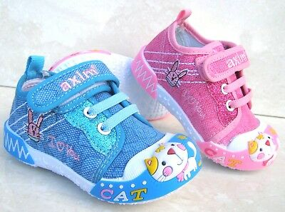 New Baby Girls Leather Insoles Canvas Trainers Nursery Slippers Toe Cap Shoes