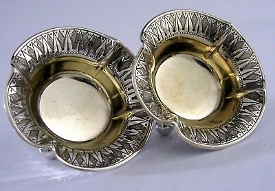 Solid Sterling Silver Salt Cellars Crested 1882 Victorian Antiques