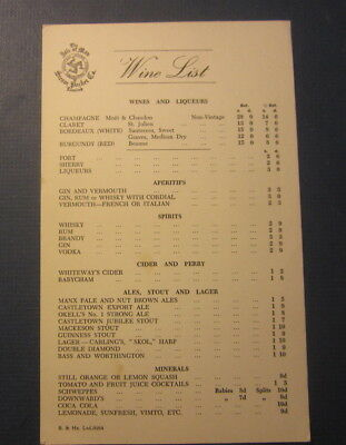 Old Vintage 1964 ISLE OF MAN STEAM PACKET CO. - Steamship MENU - WINE LIST