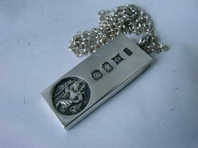 Solid Sterling Silver Ingot Pendant 1978/ L 4.2 cm on Silver Chain/ 34 g