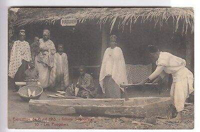 Cpa Europe Belgique - Exposition De Gand Piroguiers Du Village Senegal 1913 ~C41