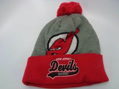 626ee910f24d41 New Jersey Devils Mitchell & Ness NHL Heather Tail Sweep Toque Hat Cap OSFM  Kni