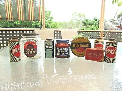 1940's BUSHELL'S FAULDING'S LIFEBOUY SOAP BRASSO GLASS JARS TIN PACKETS  DISPLAY