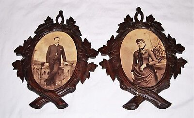 """Beautiful matched pair carved wood oval frames circa 1875 - 7"""" x 9"""""""