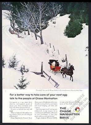 1960 Morgan horse and sleigh Vermont photo Chase Manhattan Bank vintage print ad