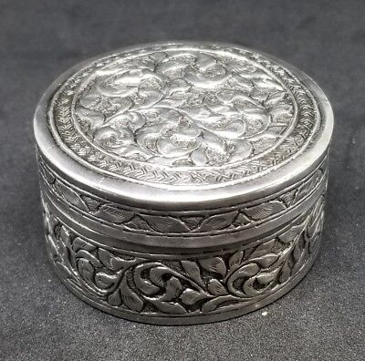 Fine 19th c Chinese  Silver Box Antique Pill Snuff Powder box