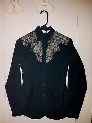Vintage Miss Rodeo America Western Shirt Sz Small Black Gold