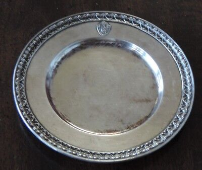 """Rare Vintage 1917 The Commodore Hotel Tip Tray  Silver Plate  4 1/8"""" Diameter"""