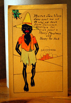 Vintage BLACK AMERICANA Greeting Card - Mistah Jack Wood from Savannah Georgia