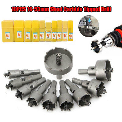 TCT Hole Saw Cutter Drill Bit Set For Steel Metal Alloy 16-53mm Us Carbide Tip