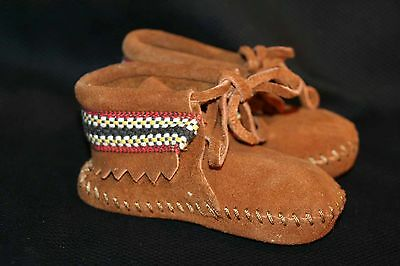 INFANT Baby Sz 4 NOS Vtg 60s 70s SUEDE MINNETONKA Indian Bootie MOCCASIN Shoe