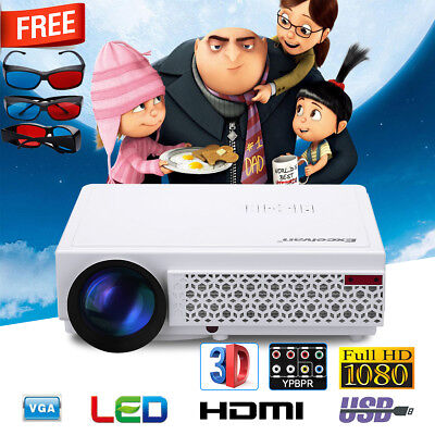 FHD 1080P 5000Lumen LED Beamer Projektor Projector HDMI/USB*2/VGA/TV+3x3D Brille