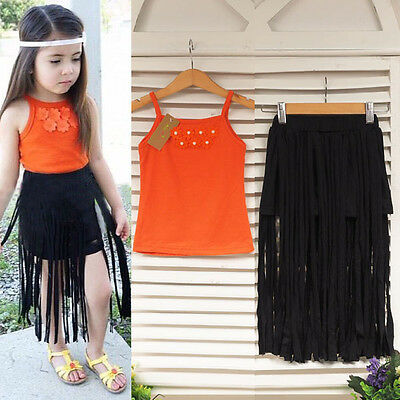 2Pcs Kids Toddler Baby Girls Sleeveless Floral T-shirt +Tassel Skirt Set Outfits