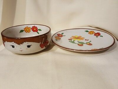 Vintage Interpur Girl Stacking Child's Replacement Bowl and Plate No Mug