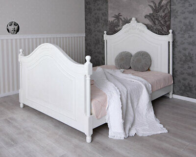 Bedstead Double Bed Antique Vintage Shabby Chic Four Poster White