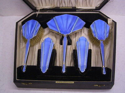 Art Deco Sterling-Silber Toiletten-Set: Blaue Guilloche Emaille: England 1931