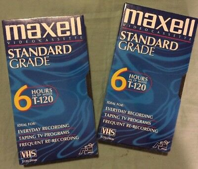 2 - Maxell T-120 VHS Tapes - Standard Grade - Blank 6 Hour EP SLP