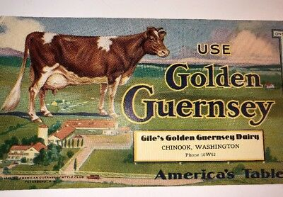 Cow Farm Milk Dairy Advertising Blotter Chinook Washington 1931 Guernsey