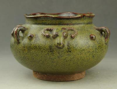 Chinese old hand-carved fambe porcelain celadon cow head Drum nails pot  / 23