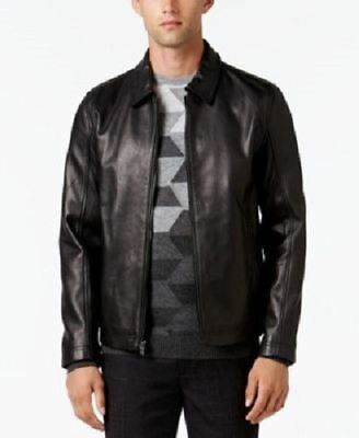 New $500 Alfani Mens Starling Leather Large  Jacket Deep Black DE7