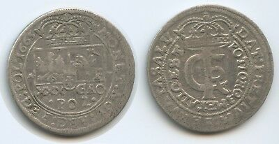 G3831 - Polen 1 Gulden (30 Groschen) 1665 AT Krakau KM#91 Johann Casimir RAR