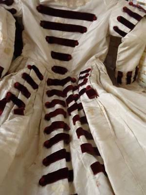 An Early Victorian Silk & Burgandy Velvet Childs Dress C. 1840/50