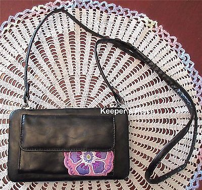 Longaberger CHARMED Clutch Wallet Crossbody Bag Faux Black Leather Pink New Tag