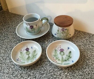 Small Job Lot Of Buchan Thistle Stoneware / Lidded Pot Cup & Saucer 2 Pin Dishes