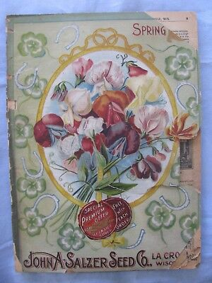 1897 Seed Catalog John Salzer Wi. Chromolithograph Covers 144 Pgs  Antique Old