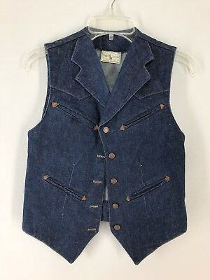 Vtg Early Ralph Lauren Western Wear Womens Denim Vest Jean Med Polo Rockabilly