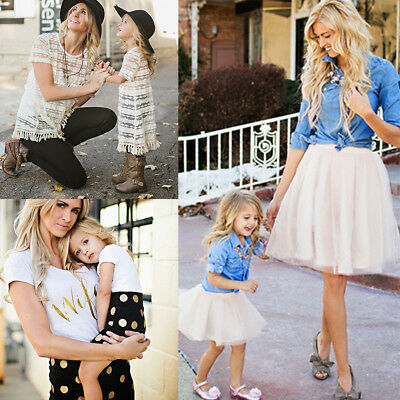 Mother Daughter Summer Lace Dress Women Kids Girls Romper Top Skirt Party Outfit