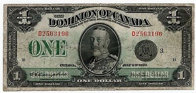 1923 Dominion Of Canada One 1 Dollar Black Seal Bank Note D 2563196 Nice Bill