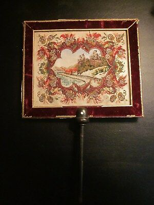 Antique Petit Point Handheld Berlin Work Fireplace Face Screen