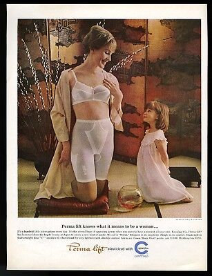1964 Perma lift spandex underwear bra girdle mother and daughter photo print ad