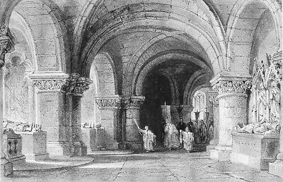 Paris BASILICA OF SAINT DENIS CATHEDRAL CRYPT TOMB KINGS ~ 1865 Print Engraving