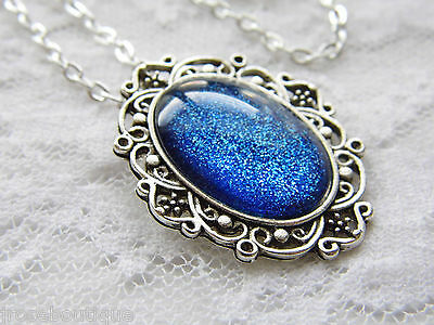 MEDIEVAL sapphire Blue Galaxy Night Sky Glitter Painted Glass Necklace Silver