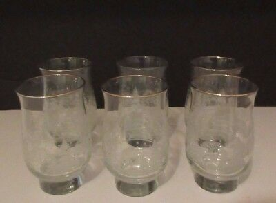 """6 ARBY'S CHRISTMAS WINTER WHITE FROSTED TREES Drinking Glasses Tumblers 5 1/4"""""""
